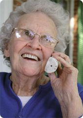 Senior woman talking on phone and smiling